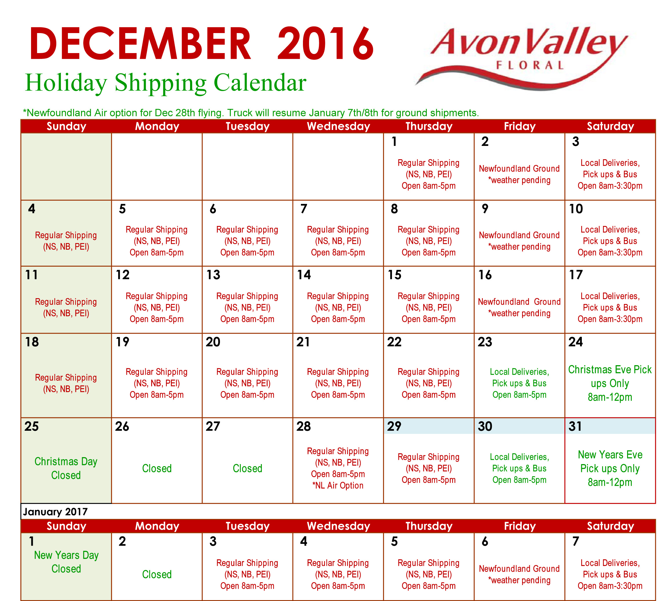 Holiday Shipping Calendar 2016 | Avon Valley Floral Holiday Shipping ...